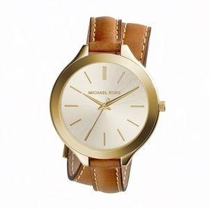Michael Kors 'Runway' Slim Double Leather Watch